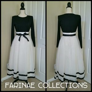 💜 Vintage Black & White Dress Farinae Collections