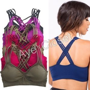 Boutique Other - Sexy black padded bralette bra criss cross OS