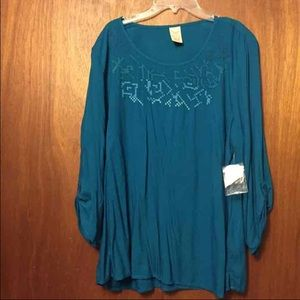 Faded Glory Tops - 🎀NWT Embroidered Teal Leggings Shirt 🎀