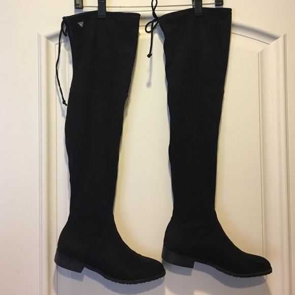 7d1ca272bec Guess Shoes - Guess Black Suede Over The Knee Boots