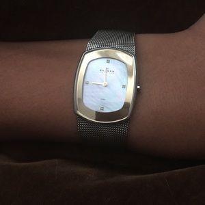 Skagen Accessories - Skagen mother of pearl dial mesh watch