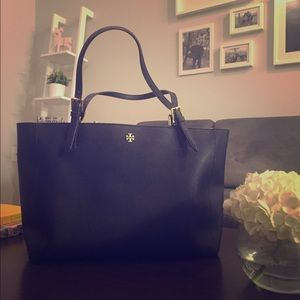 Tory Burch York Buckle Tote, Large, Navy Blue