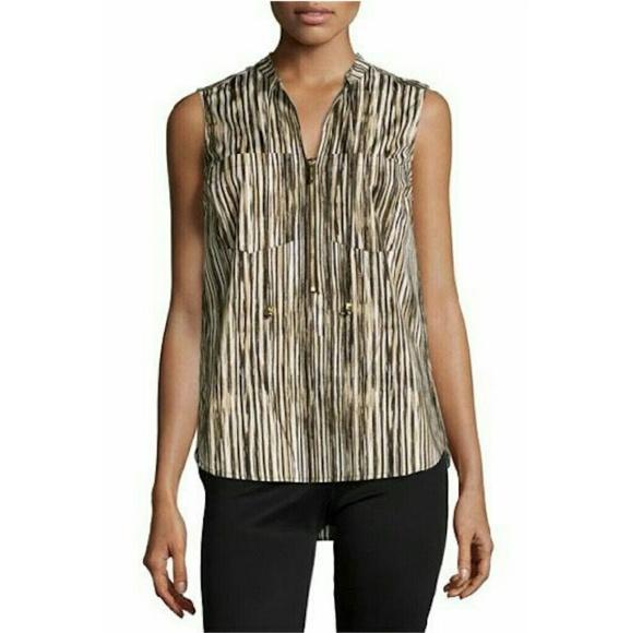 a50280448396a New Michael Kors sleeveless striped half zip top
