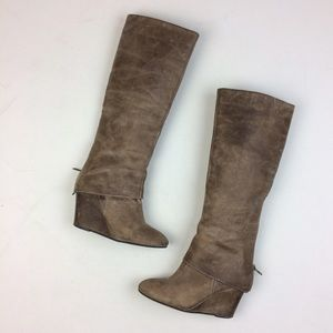 Steven by Steve Madden Taupe Leather Maryn Boots