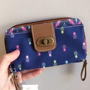 UNIONBAY Handbags - NWT Navy Pineapple Canvas Wallet