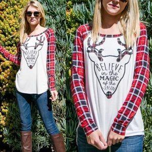 wear in la Tops - NEW! Christmas plaid shirt red reindeer baseball