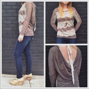 a'reve Tops - Brown and Lace Top with Back detail