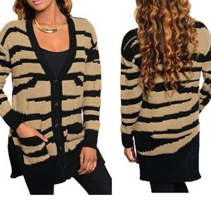 LAST 1Zebra Cardigan Taupe Black Knit Pockets