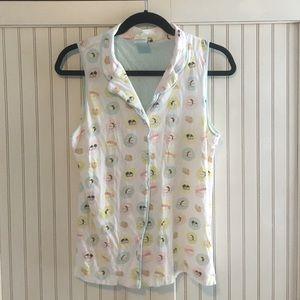 Cute pastel sushi button down pajama shirt
