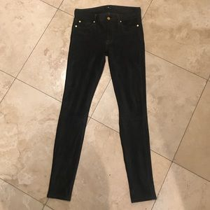 7 For All Mankind Denim - New 7 For All Mankind Suede Skinny Jeans Olive 27