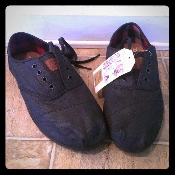 Toms Shoes | Brand New Black Mens Lace
