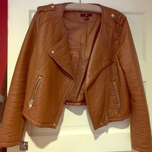 Caramel H&M faux leather Moto jacket