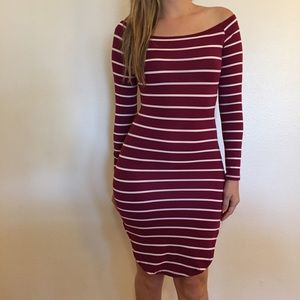Dresses & Skirts - Off The Shoulder Burgundy Striped Midi