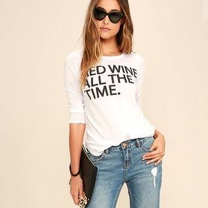 Chaser Tops - NWT Chaser red wine time long sleeve