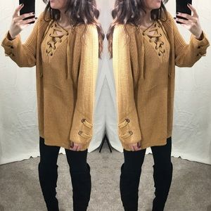 Tops - Mustard Lace Up Knit Sweater