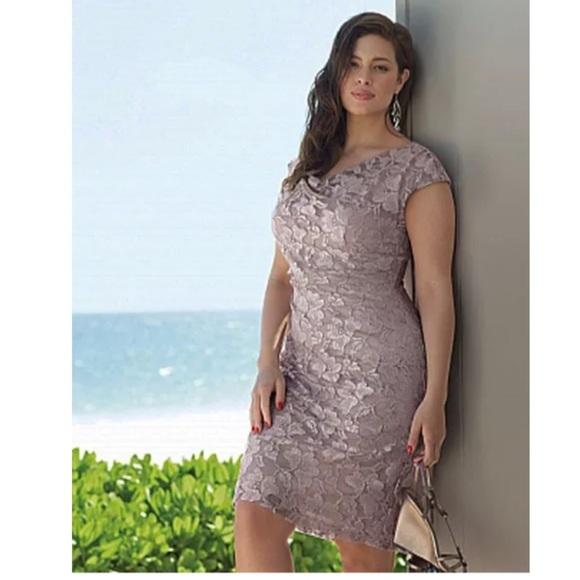 Size 24W 3X MAVE LACE RUCHED DRESS Plus Size