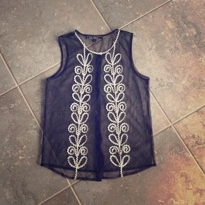 Love Stitch Tops - Love Stitch sheer black and white embroidered top