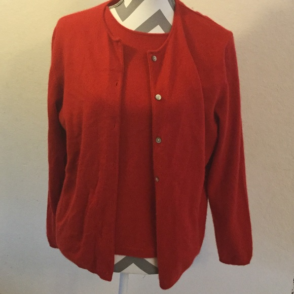 Lands' End - Lands End Red Cashmere Twin Sweater Set SOLD from ...