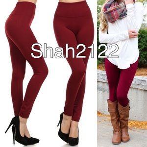 Pants - Wine fleece lined leggings super comfy