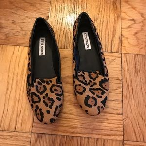 Leopard print, calf haired loafers