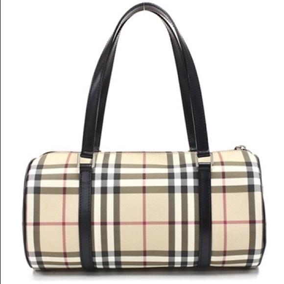 BURBERRY Nova Check Coated Canvas Lola Barrel Bag.  M 581cff196a5830edcd001929 f551c47b5e5f