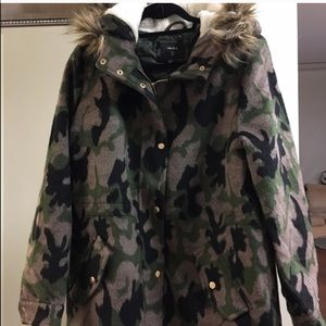Camo Print Jacket with Fur Hood