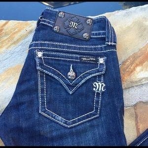 Miss Me boot cut jeans 26 x 32 -flap pocket