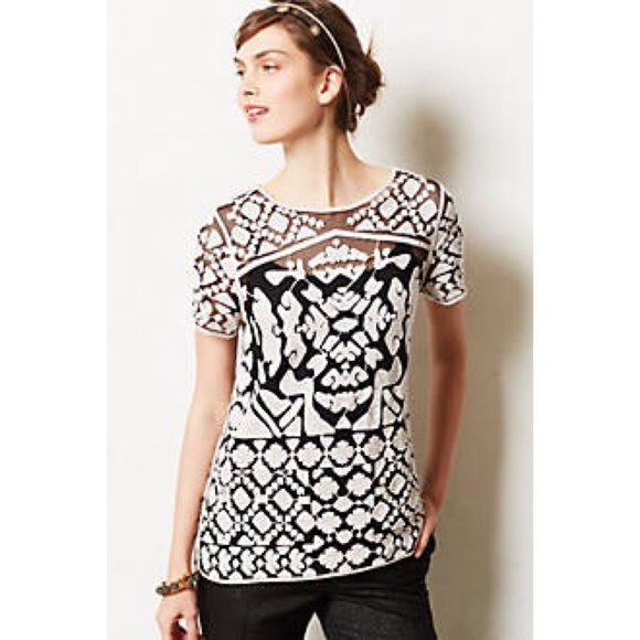 25631814f1236 Anthropologie Tops - Anthropologie Everleigh Lace Cream Top