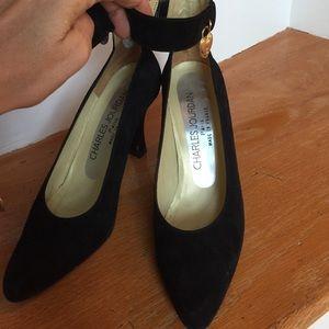 Charles Jourdan Shoes - Charles Jourdan Paris, black suede w/heart anklet