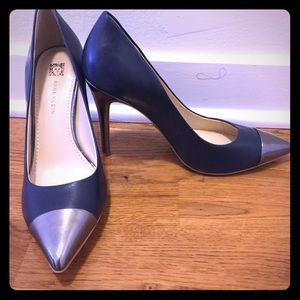 Blue pumps, high heel with silver toe caps!
