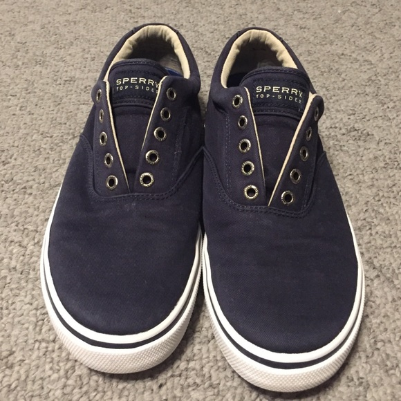 Mens Sperry Navy Washed Canvas Laceless