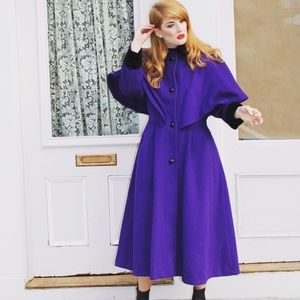 Beautiful Purple Wool Cape Coat oversized