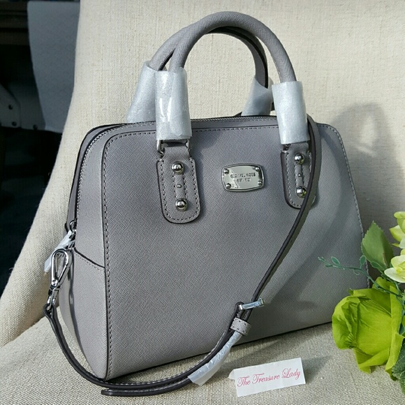 9077b32189 Michael Kors Saffiano Small Satchel Purse MK grey