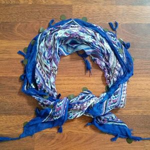 Colorful Sheer Square Coin Scarf