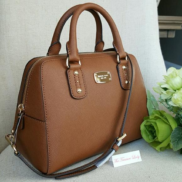 a003e8c18 Michael Kors Bags | Saffiano Small Satchel Purse Mk Brown | Poshmark
