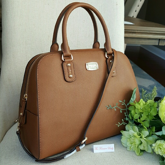 bb0f9b1e0 Michael Kors Bags | Saffiano Large Satchel Purse Mk Brown | Poshmark