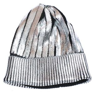 Callie Lives Accessories - Metallic Silver Coated & Folded Sweater Beanie