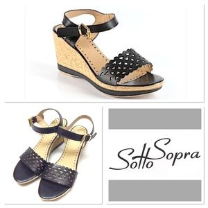 sotto sopra Shoes - 39/8 SOTTO SOPRA  black leather wedges