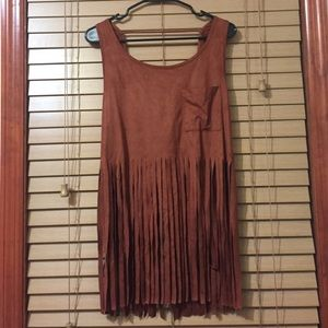 Necessary Clothing Tops - Suede Fringe Top