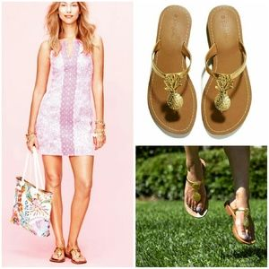 Lilly Pulitzer for Target Shoes - Lilly Pulitzer Target Sz 6M Pineapple Sandals Gold