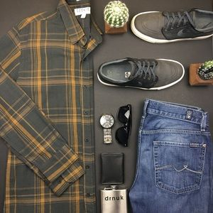 Ezekiel Other - Ezekiel Dark Grey and Yellow Plaid Button Up