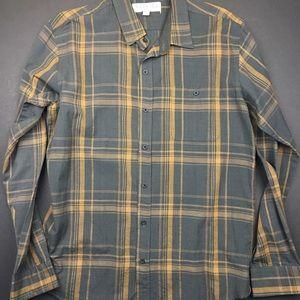 Ezekiel Shirts - Ezekiel Dark Grey and Yellow Plaid Button Up