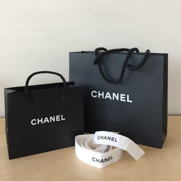 707233e14a7cf1 CHANEL Other | 2x Black Paper Bags Ribbon Mint Small Xs | Poshmark