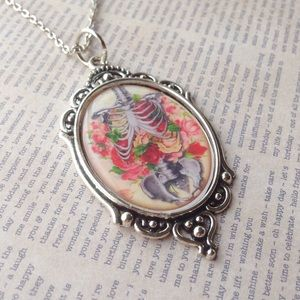 Abbie's Anchor Jewelry - ribcage & flowers cameo necklace