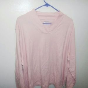 Pink long v neck pink shirt sleeve shirt.