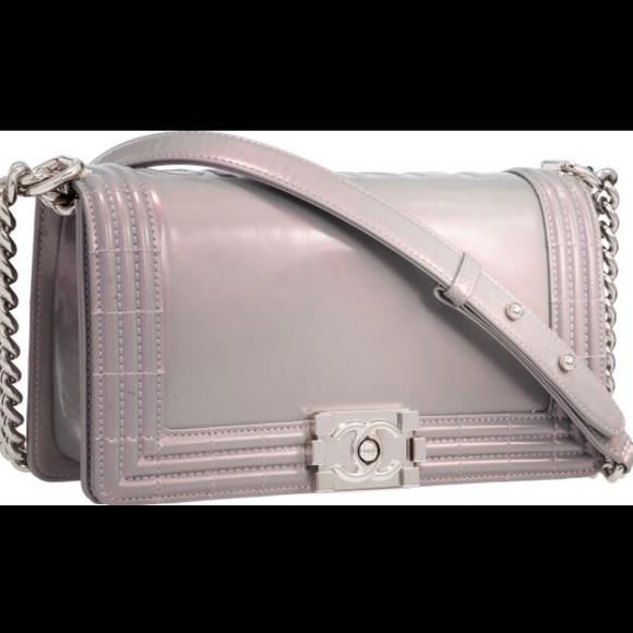 CHANEL Bags   Boutique Iridescent Purplegray Boy Bag   Poshmark 6206b97239