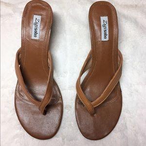 Zigi Soho Shoes - Zigi Soho Kitten Heel Tan Sandals