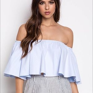 Tops - Must Have ❣️ blue flowy off shoulder cropped top
