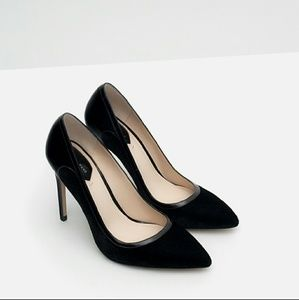 Zara Black Velvet/Patent Pumps Sz 8
