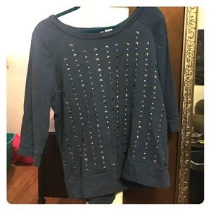 Sweaters - Blue studded sweater
